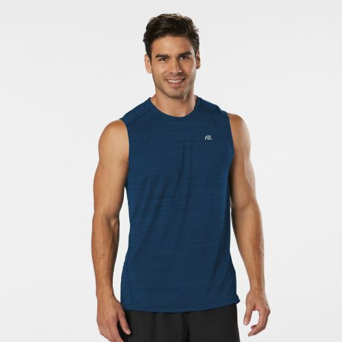 Mens Road Runner Sports Runner's High Printed Sleeveless & Tank Technical Tops - Pilot Blue ...