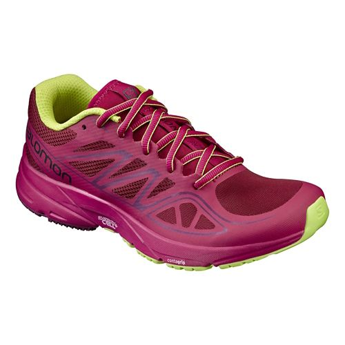 Womens Salomon Sonic Aero Running Shoe - Red/Sangria 6