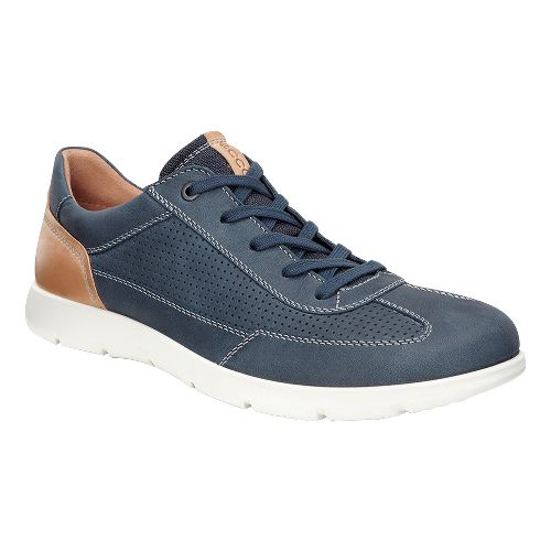 Mens Ecco Iowa Perf Tie Casual Shoe - Marine 46