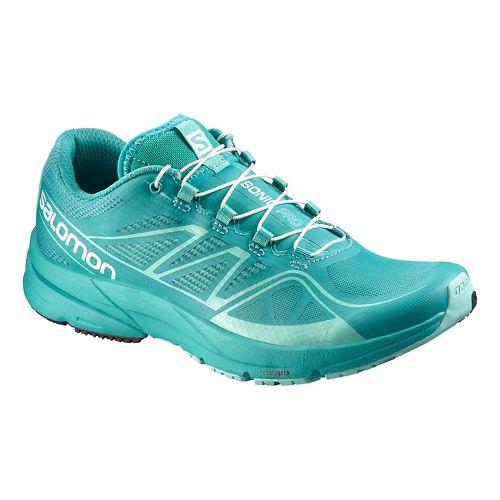 Womens Salomon Sonic Pro Running Shoe - Purple/Green 9.5