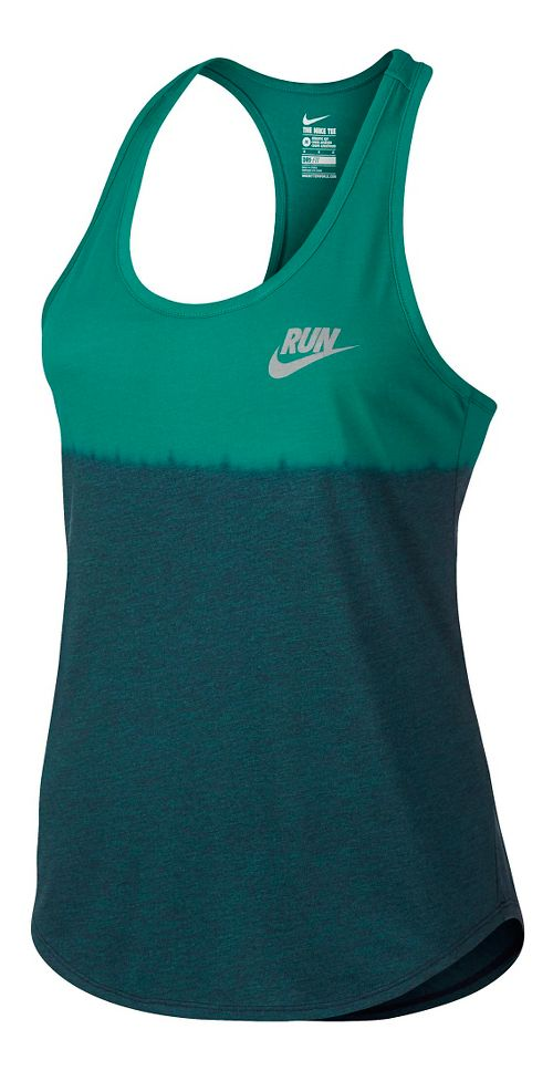 Womens Nike Run Dip Tie Racer Sleeveless & Tank Technical Tops - Rio Teal XL ...