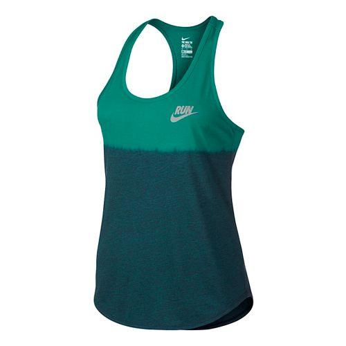 Womens Nike Run Dip Tie Racer Sleeveless & Tank Technical Tops - Rio Teal L ...