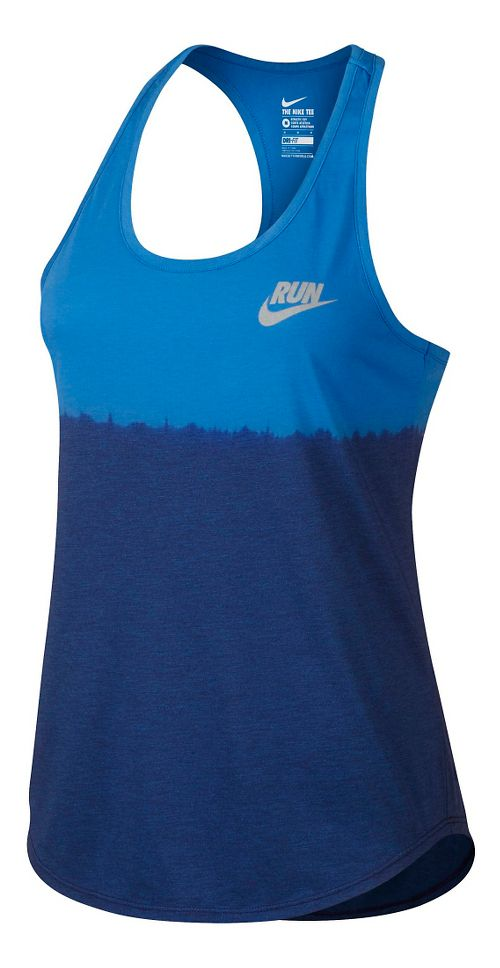 Womens Nike Run Dip Tie Racer Sleeveless & Tank Technical Tops - Light Photo Blue XL