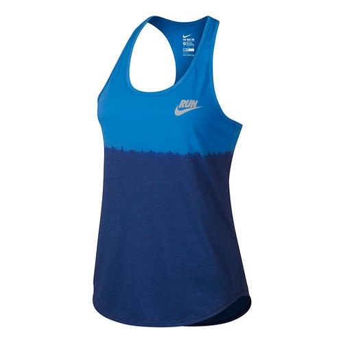 Womens Nike Run Dip Tie Racer Sleeveless & Tank Technical Tops - Light Photo Blue L