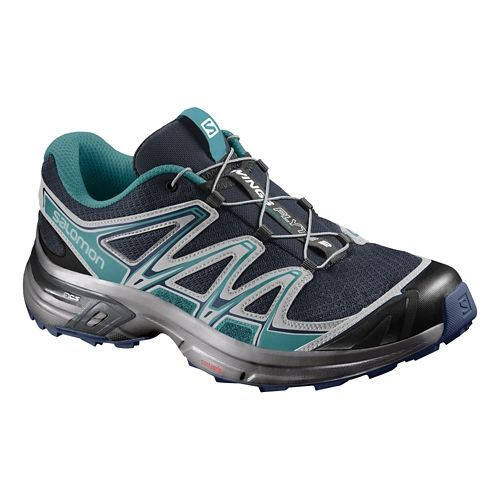 Womens Salomon Wings Flyte 2 Running Shoe - Navy/Teal 8.5