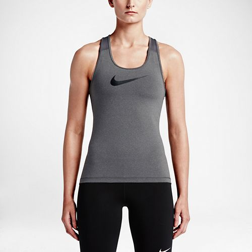 Womens Nike Pro Cool Sleeveless & Tank Technical Tops - Dark Grey L