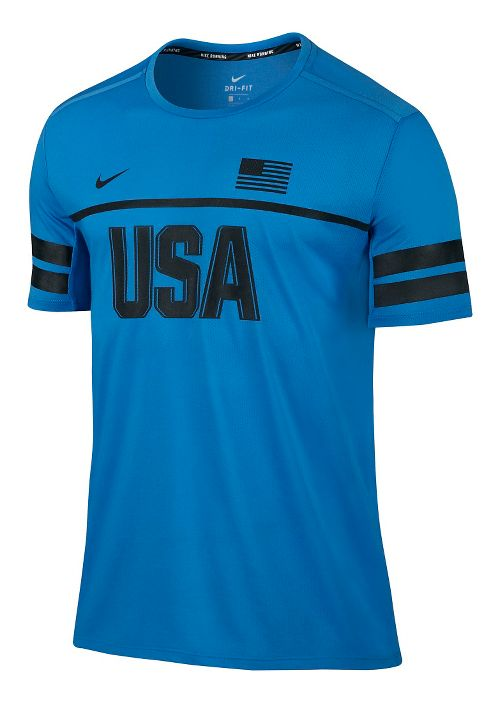Mens Nike Dry Top Energy USA Short Sleeve Technical Tops - Light Photo Blue M ...