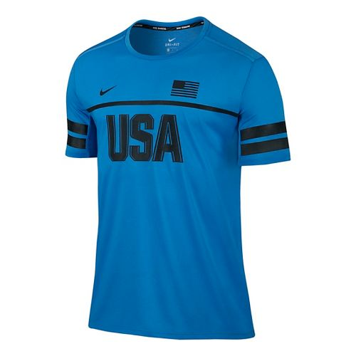 Mens Nike Dry Top Energy USA Short Sleeve Technical Tops - Light Photo Blue S ...