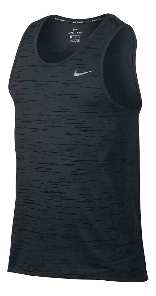 Men' Nike Dry Tank Tailwind Print Sleeveless & Tank Technical Tops - Black/Anthracite XL