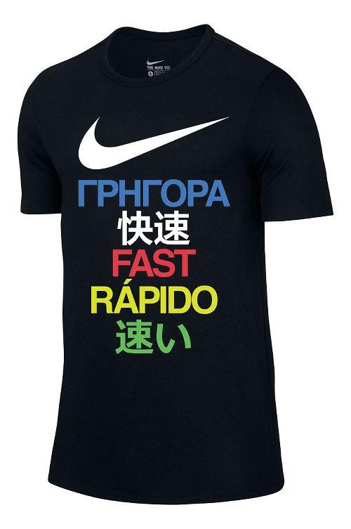 Mens Nike Run Fast Tee Short Sleeve Technical Tops - Black XL