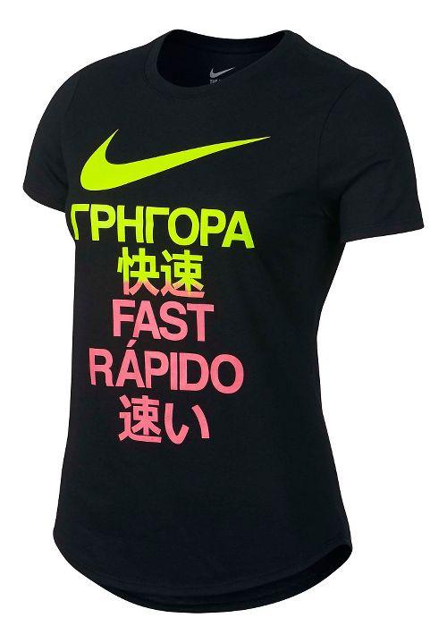 Womens Nike Run Fast Tee Short Sleeve Technical Tops - Black XL
