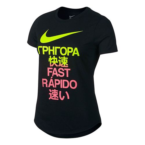 Womens Nike Run Fast Tee Short Sleeve Technical Tops - Black L