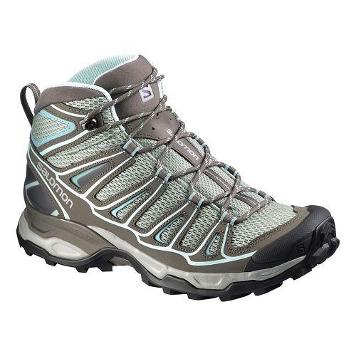 Womens Salomon X- Ultra Mid Aero Hiking Shoe - Grey/Blue 5.5