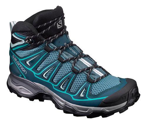 Womens Salomon X- Ultra Mid Aero Hiking Shoe - Teal/Blue 8