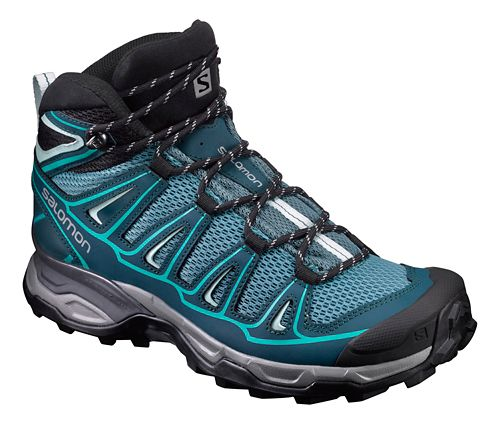 Womens Salomon X- Ultra Mid Aero Hiking Shoe - Teal/Blue 8.5
