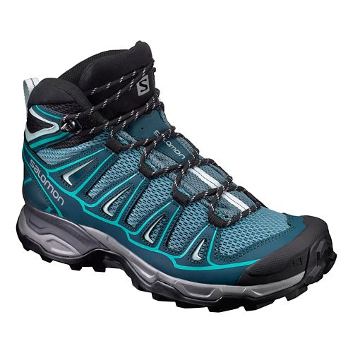 Womens Salomon X- Ultra Mid Aero Hiking Shoe - Teal/Blue 7.5