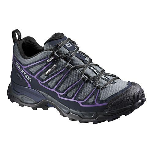 Womens Salomon X Ultra Prime CS WP Hiking Shoe - Grey/Purple 10
