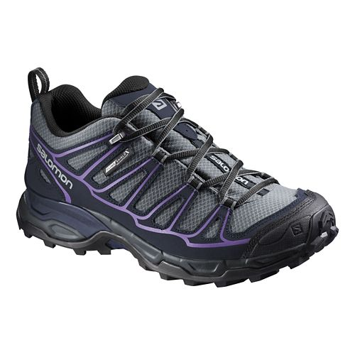 Womens Salomon X Ultra Prime CS WP Hiking Shoe - Grey/Purple 5.5