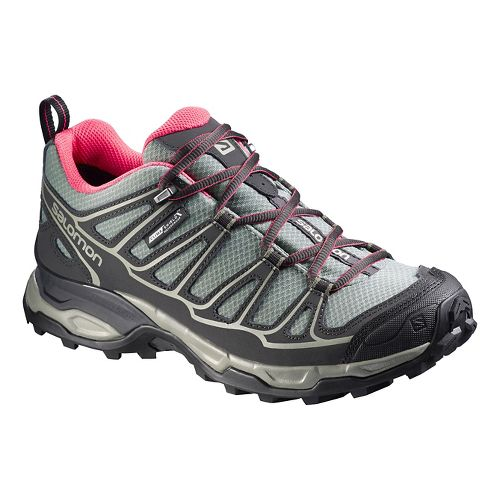Womens Salomon X Ultra Prime CS WP Hiking Shoe - Grey/Pink 8.5