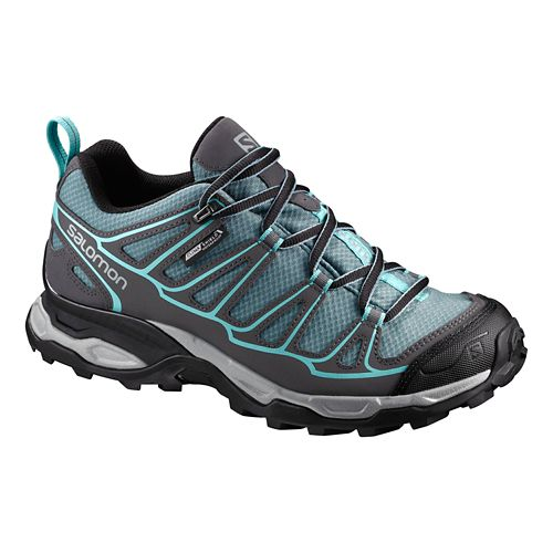 Womens Salomon X Ultra Prime CS WP Hiking Shoe - Arctic Blue/Grey 9.5