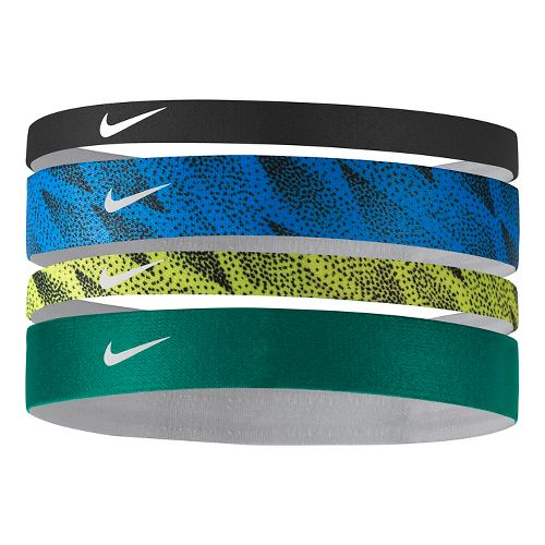 Womens Nike Printed Headbands Assorted 4-pack Headwear - Black/Light Photo Blue