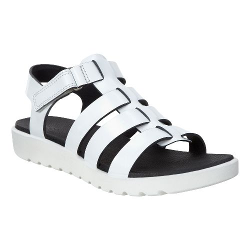 Womens Ecco Freja Ankle Sandals Shoe - White Metallic 41