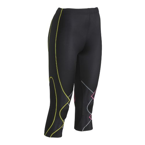 Womens CW-X 3/4 Expert Leggings Tights - Black/Multi L
