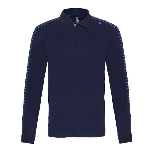 Mens Tasc Performance Core 1/4-Zip Printed Long Sleeve Technical Tops - Navy/Blue Bamboo M