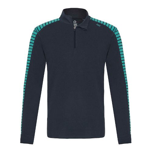 Mens Tasc Performance Core 1/4-Zip Printed Long Sleeve Technical Tops - Gunmetal/Bamboo S
