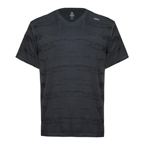 Mens Tasc Performance Vital V-Neck T Printed Short Sleeve Technical Tops - Gunmetal/Sonar Strip ...