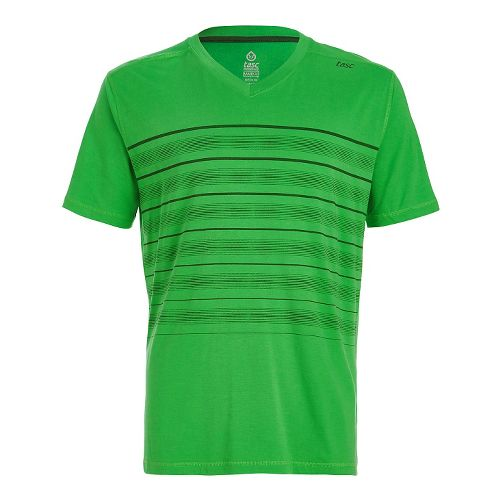 Mens Tasc Performance Vital V-Neck T Printed Short Sleeve Technical Tops - Green Stripes L ...