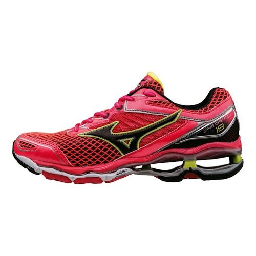 Womens Mizuno Wave Creation 18 Running Shoe - Pink/Black/Yellow 7.5