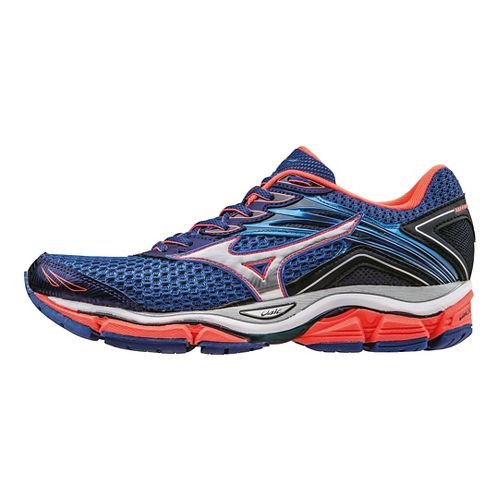 Womens Mizuno Wave Enigma 6 Running Shoe - Blue/Coral/Silver 7.5