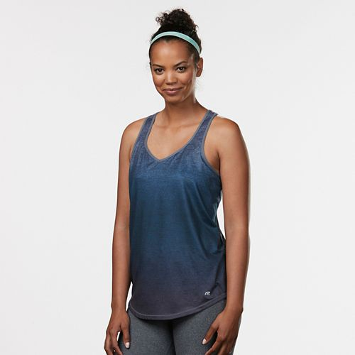 Womens Road Runner Sports Shades of Grey Ombre Sleeveless & Tank Technical Tops - Midnight Blue M