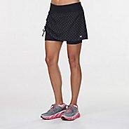 Womens Road Runner Sports Winning Combo Printed Skort Fitness Skirts - Black/Dove Grey Dot XL
