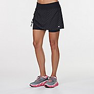Womens Road Runner Sports Winning Combo Printed Skort Fitness Skirts - Black/Dove Grey Dot XS