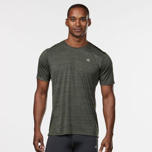 Mens Road Runner Sports Runner's High Printed Short Sleeve Technical Tops - Jungle/Black M