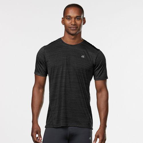 Mens Road Runner Sports Runner's High Printed Short Sleeve Technical Tops - Black/Charcoal L