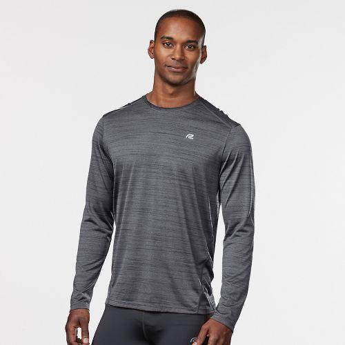 Mens Road Runner Sports Runner's High Printed Long Sleeve Technical Tops - Steel/Black L