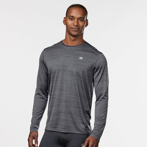 Mens Road Runner Sports Runner's High Printed Long Sleeve Technical Tops - Steel/Black M