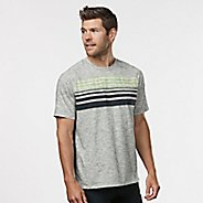 Mens Road Runner Sports Training Day Striped Short Sleeve Technical Tops - White/Charcoal S