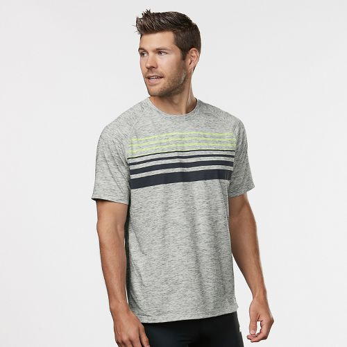 Mens Road Runner Sports Training Day Striped Short Sleeve Technical Tops - White/Charcoal L