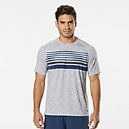 Mens Road Runner Sports Training Day Striped Short Sleeve Technical Tops - White/Midnight Blue L