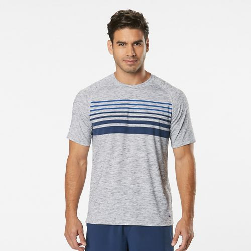 Mens Road Runner Sports Training Day Striped Short Sleeve Technical Tops - White/Midnight Blue XL