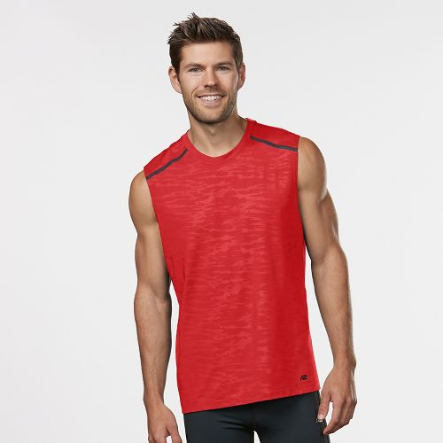 Mens Road Runner Sports Your Unbeatable Sleeveless & Tank Technical Tops - Red Zone/Black L
