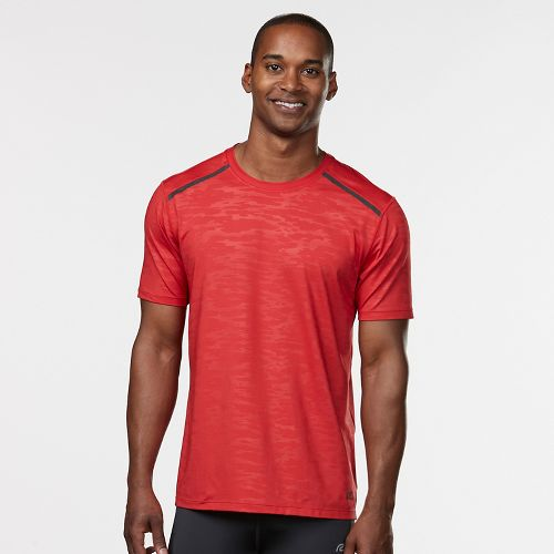 Mens Road Runner Sports Your Unbeatable Short Sleeve Technical Tops - Red Zone/Black L