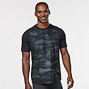 Mens Road Runner Sports Base Runner Printed Short Sleeve Technical Tops - Steel/Camo L