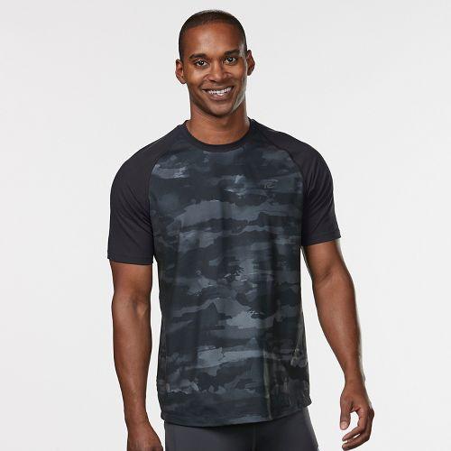 Mens Road Runner Sports Base Runner Printed Short Sleeve Technical Tops - Steel/Camo L