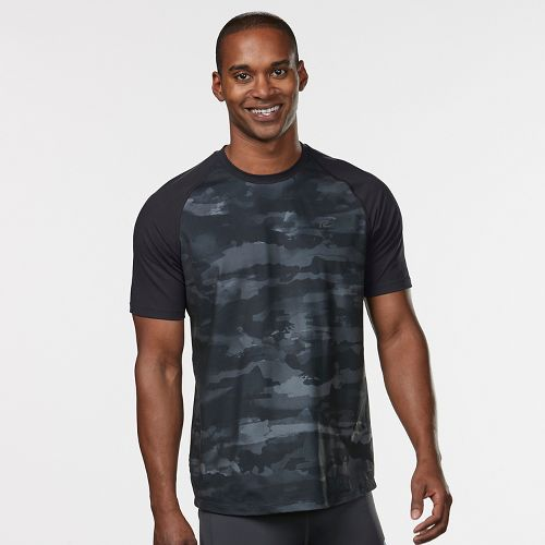 Mens Road Runner Sports Base Runner Printed Short Sleeve Technical Tops - Steel/Camo XL