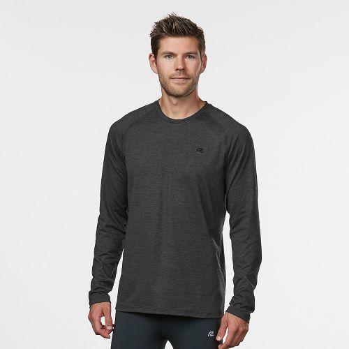 Mens Road Runner Sports Perfect Run Long Sleeve Technical Tops - Charcoal/Black L